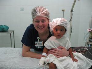 Laura W. getting toddler ready for surgery